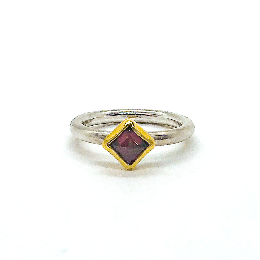 size 6 Square Cut Garnet Ring by Judie Raiford