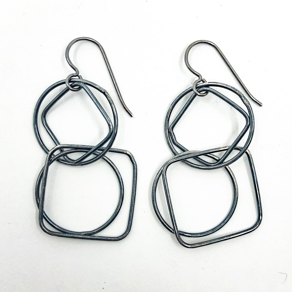 Oxidized Sterling Sterling JW Earrings by Judie Raiford
