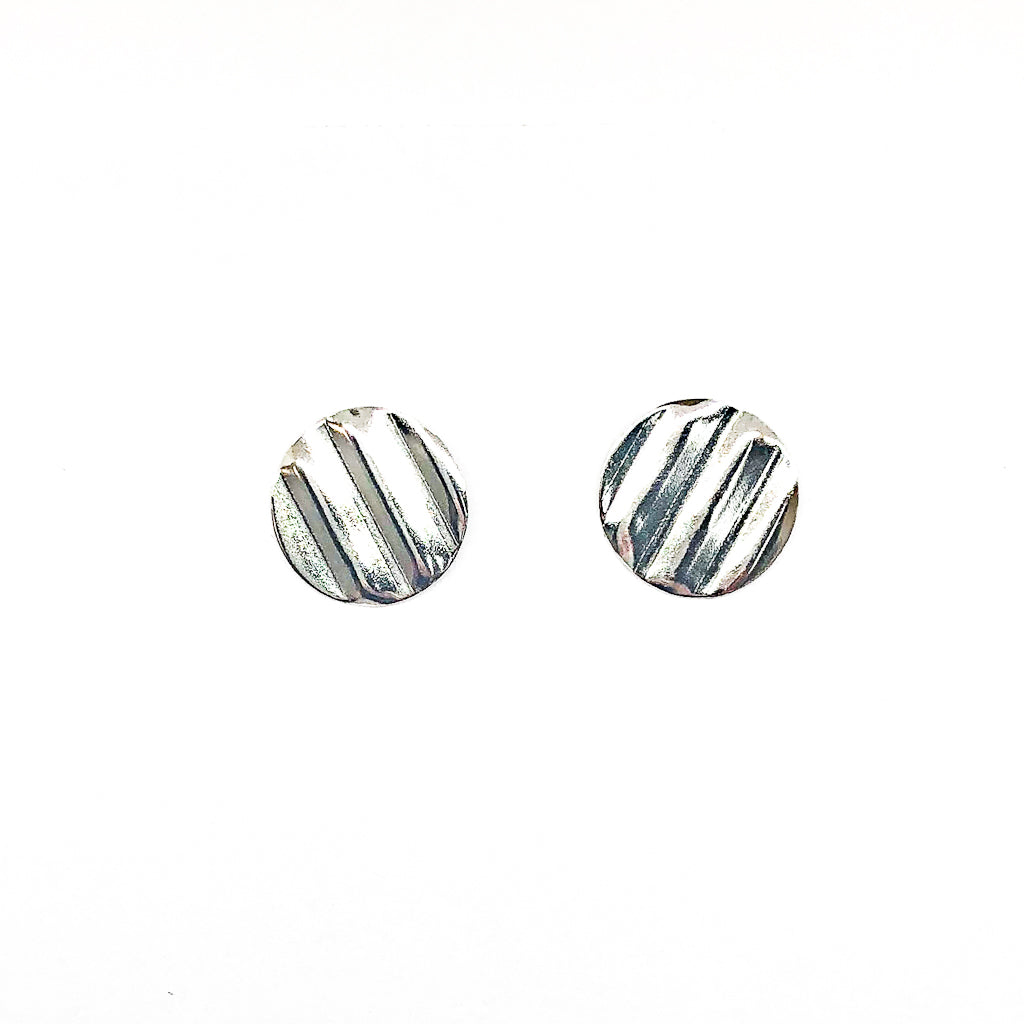 sterling silver Corrugated Post Earrings by Judie Raiford