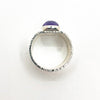 over top view of size 6.5 Sterling Cross Pein Hammered Ring with Amethyst by Judie Raiford