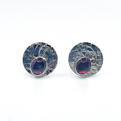 Sterling Circle Cuff Links with Garnet