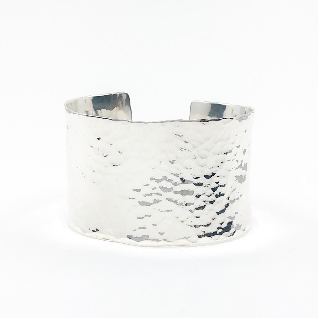 "Sterling 1.5"" Ball Pein Anticlastic Cuff by Judie Raiford"