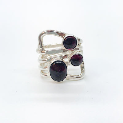 Sterling Wrap Ring with 3 Garnet Cabochons by Judie Raiford