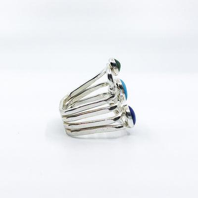right side view of size 11 Sterling Wrap Ring with Peridot, Lapis, and Turquoise by Judie Raiford