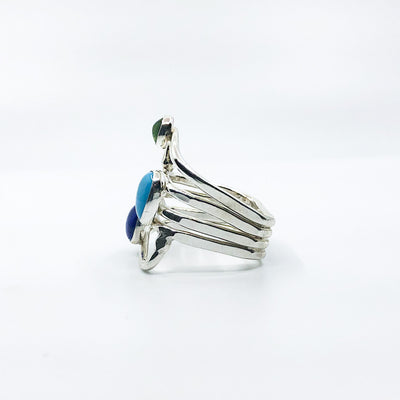 left side view of size 11 Sterling Wrap Ring with Peridot, Lapis, and Turquoise by Judie Raiford