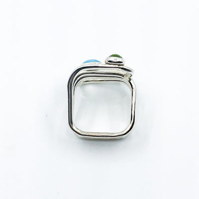 over top view of size 11 Sterling Wrap Ring with Peridot, Lapis, and Turquoise by Judie Raiford