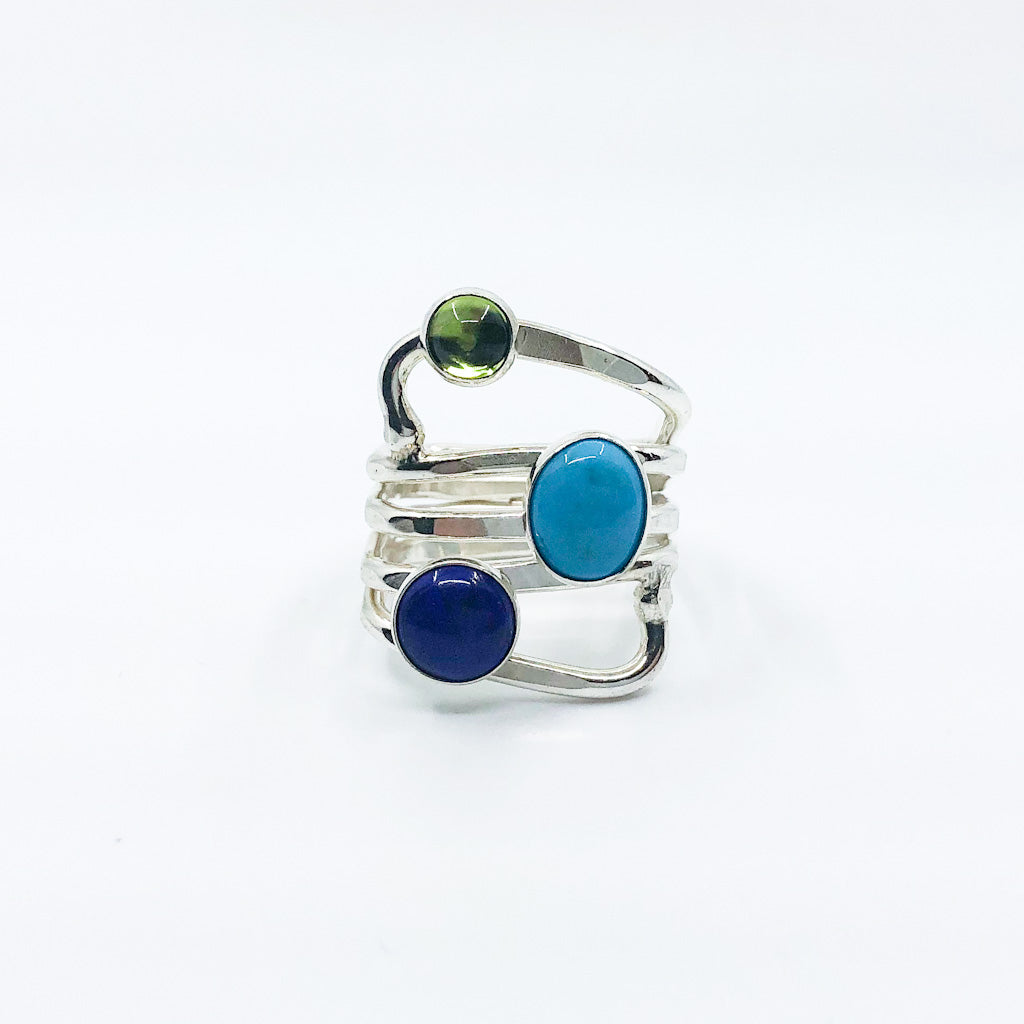 size 11 Sterling Wrap Ring with Peridot, Lapis, and Turquoise by Judie Raiford