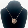 14k Gold Filled Ball Pein Flat Disc Lynne Necklace by Judie Raiford displayed on black mannequin bust