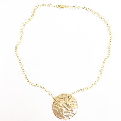 14k Gold Filled Ball Pein Flat Disc Lynne Necklace by Judie Raiford
