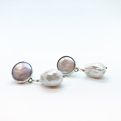 side angle front view of Sterling Irina Earrings with White Pearls by Judie Raiford