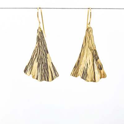 14k Gold Filled Ginkgo Ra Ra Earrings by Judie Raiford hanging on a wire