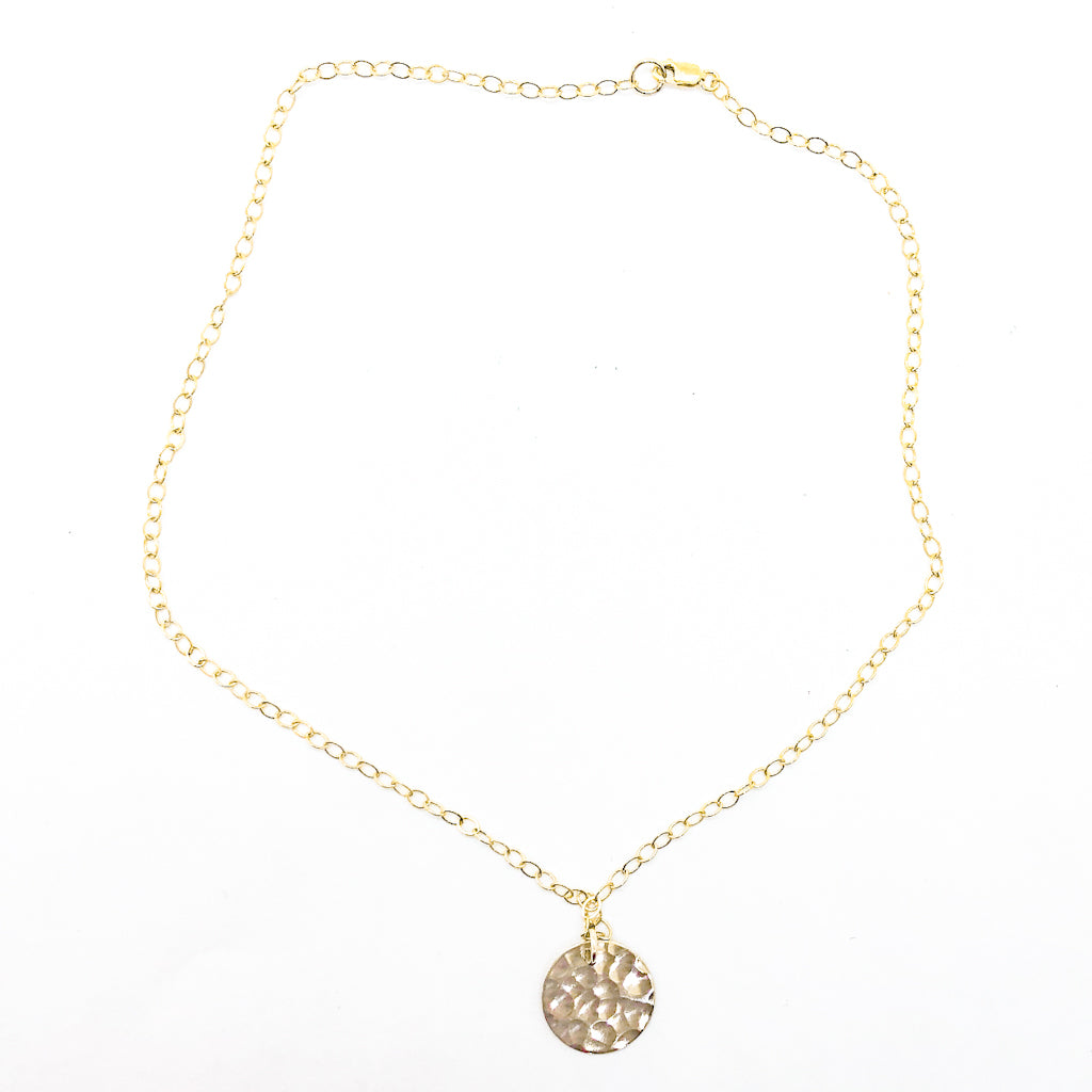 14k Gold Filled Ball Pein Mini Flat Circle Disc Necklace by Judie Raiford