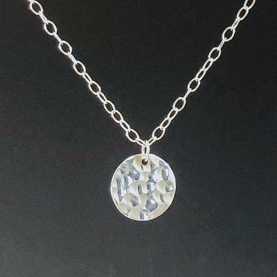 Sterling Ball Pein Textured Mini Flat Circle Disc Necklace