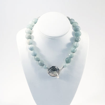 Faceted Aquamarine Beads with Sterling Cupcake Clasp by Judie Raiford