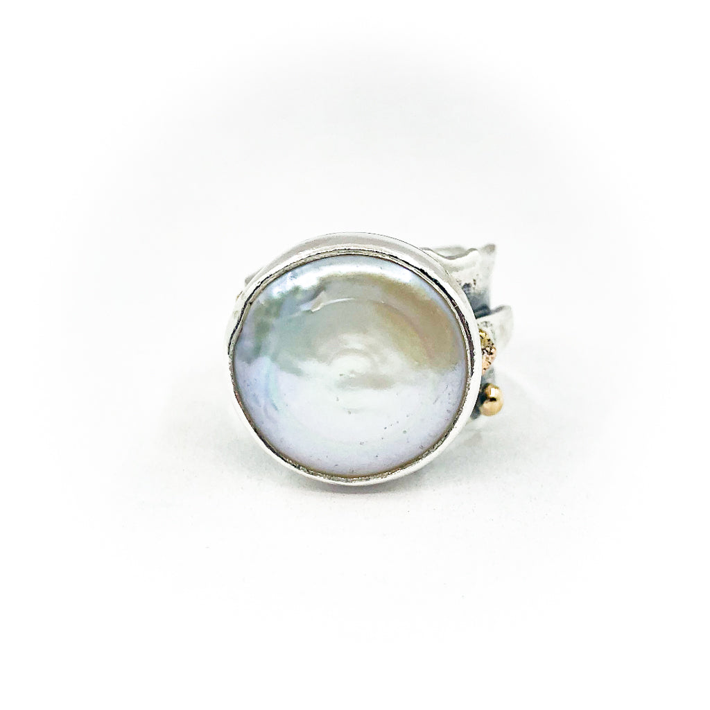 size 7.5 Sterling, 14k, 22k Deckled Edge Coin Pearl Ring by Judie Raiford