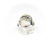 back side view of size 7.5 Sterling, 14k, 22k Deckled Edge Coin Pearl Ring by Judie Raiford