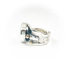 left side view of size 7.5 Sterling, 14k, 22k Deckled Edge Coin Pearl Ring by Judie Raiford
