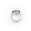 over top view of size 7.5 Sterling, 14k, 22k Deckled Edge Coin Pearl Ring by Judie Raiford