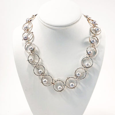 Sterling Not Naught Round Necklace with Gray Pearls by Judie Raiford on white display bust