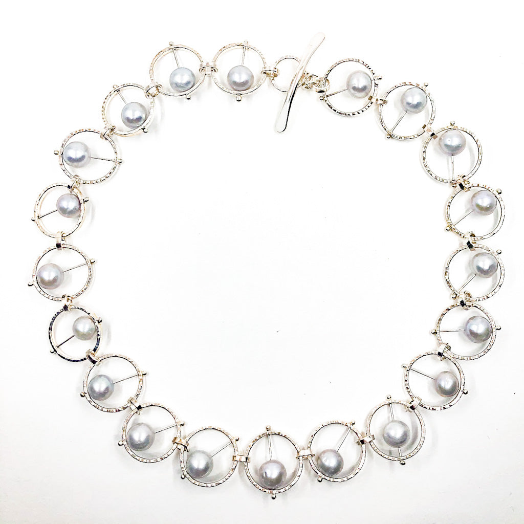 Sterling Not Naught Round Necklace with Gray Pearls by Judie Raiford
