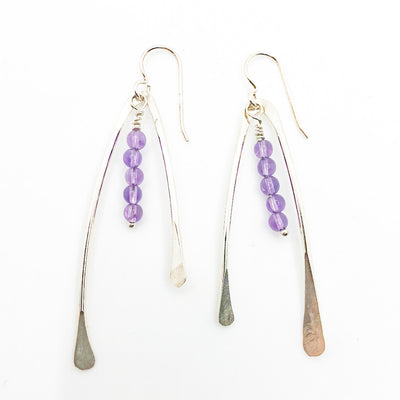 Wishbone Earrings with Gemstones