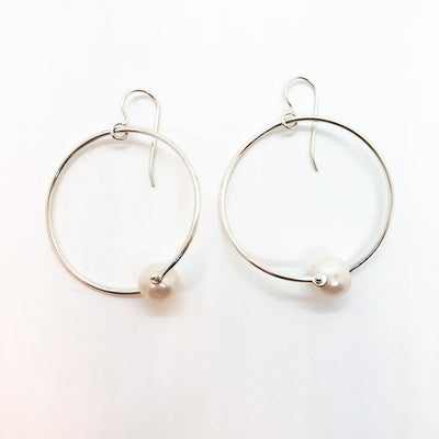 Sterling Twisted Hoop Pearl Earrings by Judie Raiford