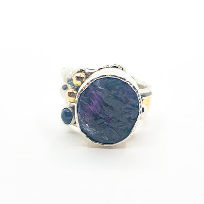 size 8 Sterling 14k, 22k Deckled Edge Natural Surface Amethyst Ring by Judie Raiford