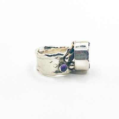 right side view of size 8 Sterling 14k, 22k Deckled Edge Natural Surface Amethyst Ring by Judie Raiford