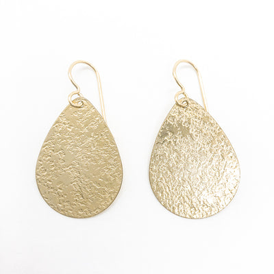 14k Gold Filled Mom's Hammer Flat Pear Earrings by Judie Raiford