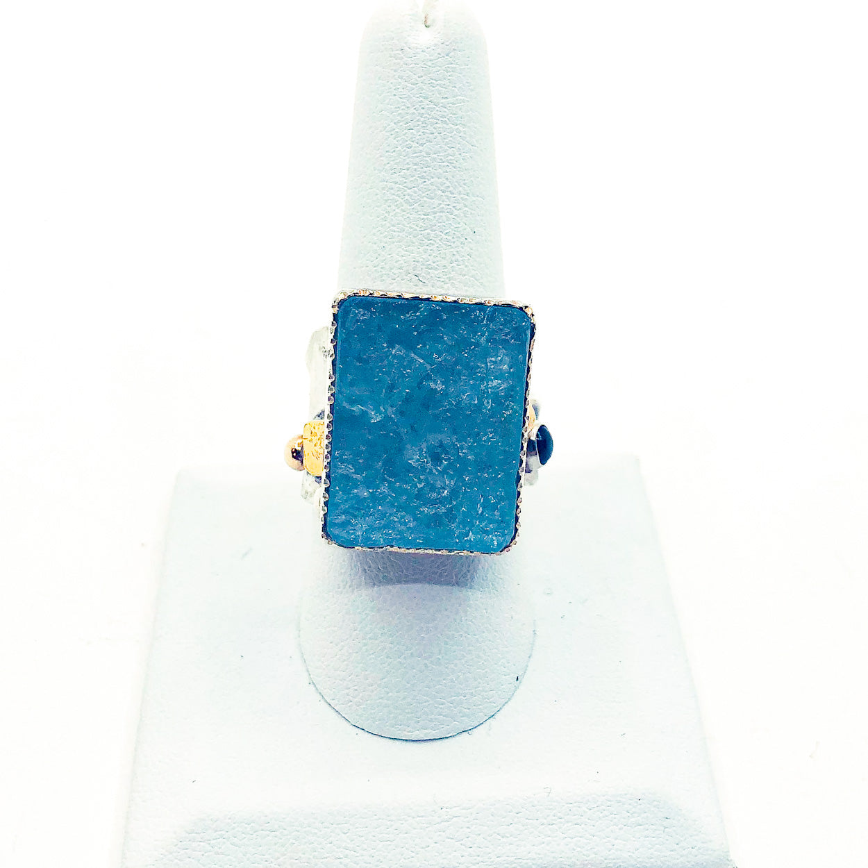 Sterling, 22k, 14k Deckled Edge Ring with Natural Surface Aquamarine and Blue Topaz by Judie Raiford