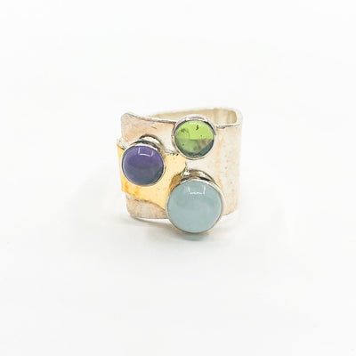 size 8 Sterling and 24k Gold Crotch Hugger Ring with Aquamarine, Peridot, and Amethyst by Judie Raiford