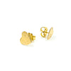 side angle view of 14k Gold Filled Paper Textured Heart Stud Earrings by Judie Raiford