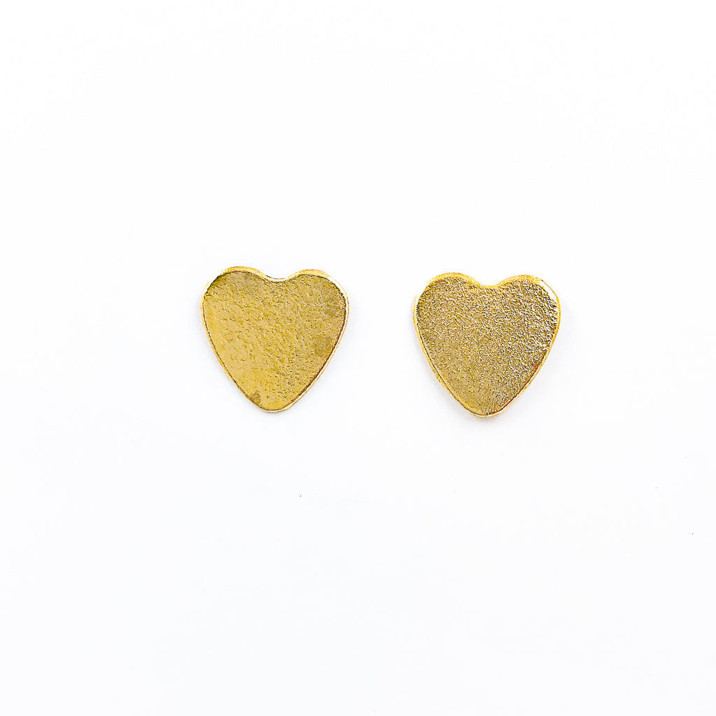 14k Gold Filled Paper Textured Heart Stud Earrings by Judie Raiford