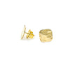 side angle view of 14k Gold Filled Mom's Hammered Square Stud Earrings by Judie Raiford