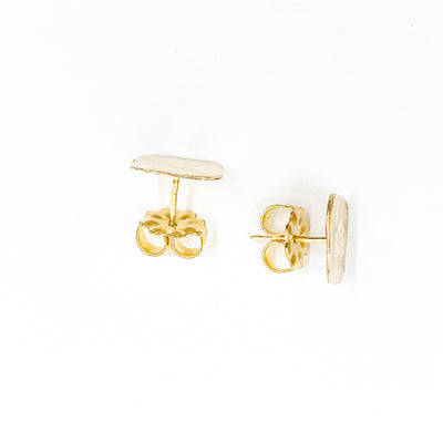 over top view of 14k Gold Filled Mom's Hammered Square Stud Earrings by Judie Raiford