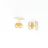 over top view of 14k Gold Filled Textured Circle Stud Earrings by Judie Raiford
