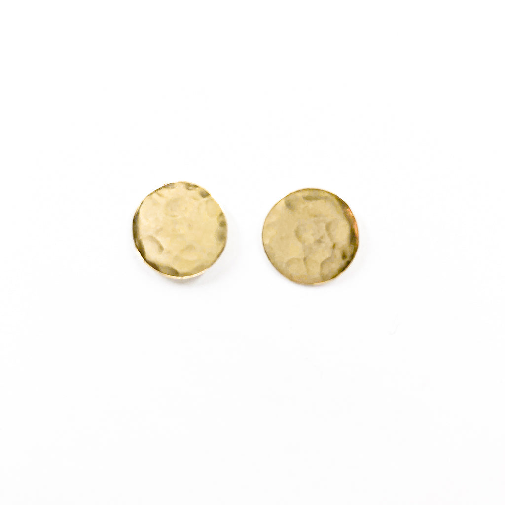 14k Gold Filled Textured Circle Stud Earrings by Judie Raiford