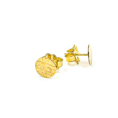 side angle view of 14k Gold Filled Gauze Textured Circle Stud Earrings by Judie Raiford