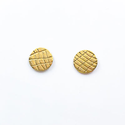 14k Gold Filled Gauze Textured Circle Stud Earrings by Judie Raiford