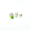 alternate side angle view of 6mm Peridot Cabochon Stud Earrings by Judie Raiford