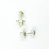 over head view of 6mm Peridot Cabochon Stud Earrings by Judie Raiford