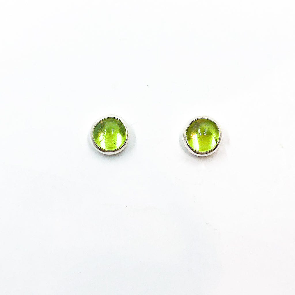 6mm Peridot Cabochon Stud Earrings by Judie Raiford