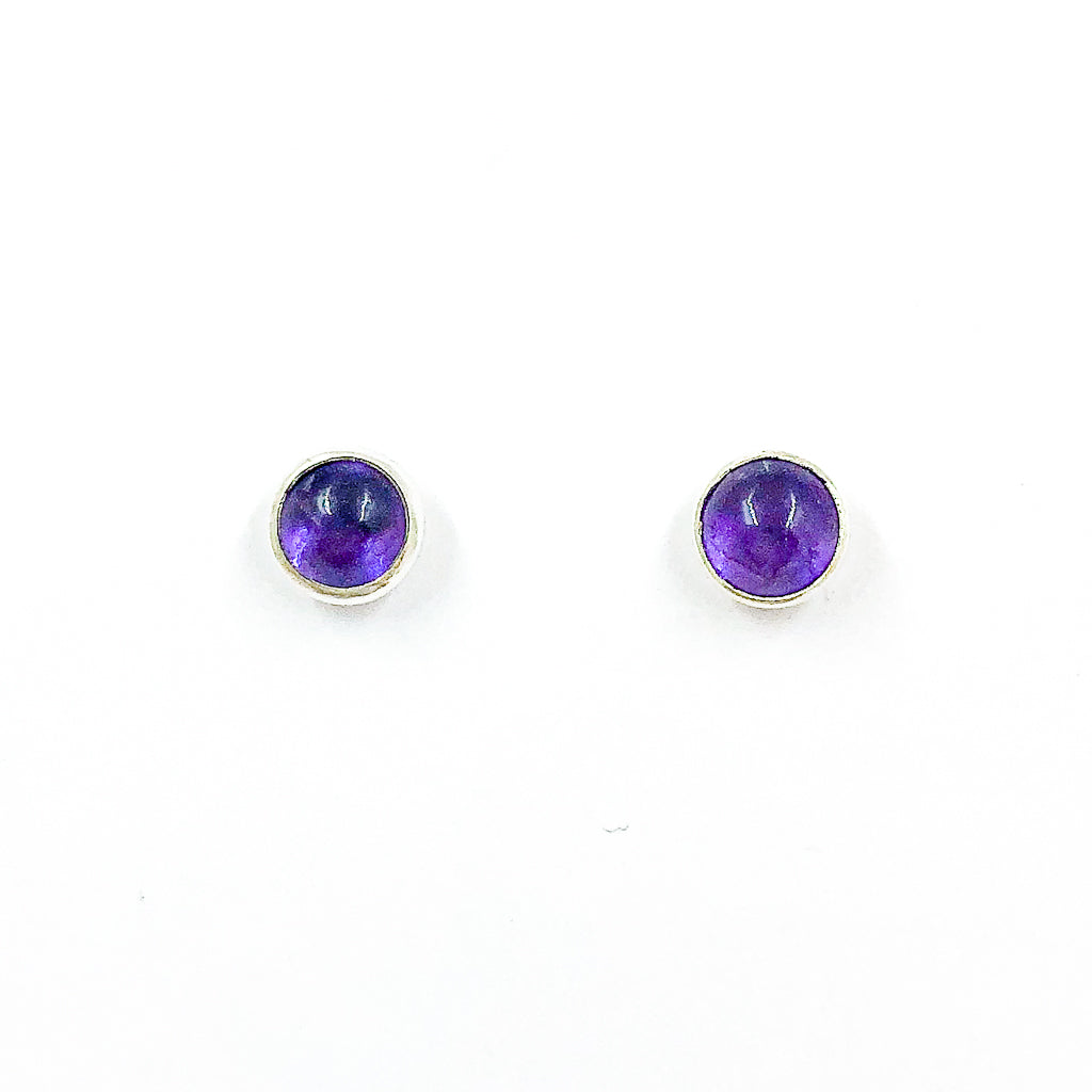 5mm Amethyst Cabochon Stud Earrings by Judie Raiford