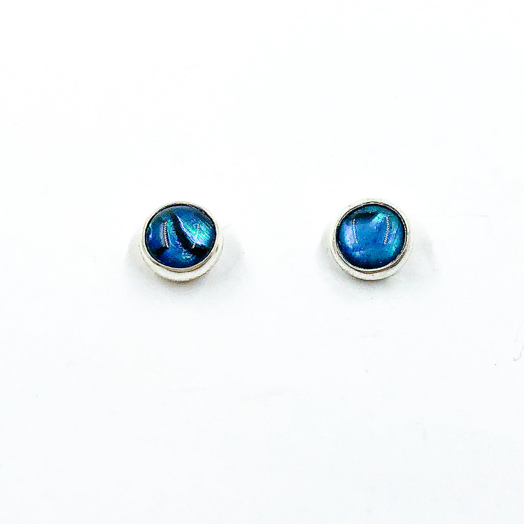 6mm Abalone Cabochon Stud Earrings by Judie Raiford