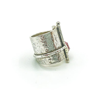 right side view of size 6 Sterling and 22k Gold Deckled Edge Bar Ring with Pink Tourmaline by Judie Raiford