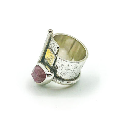 left side view of size 6 Sterling and 22k Gold Deckled Edge Bar Ring with Pink Tourmaline by Judie Raiford