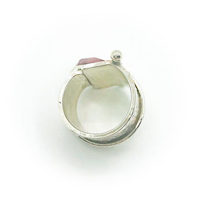 over top view of size 6 Sterling and 22k Gold Deckled Edge Bar Ring with Pink Tourmaline by Judie Raiford