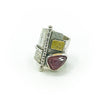 size 6 Sterling and 22k Gold Deckled Edge Bar Ring with Pink Tourmaline by Judie Raiford
