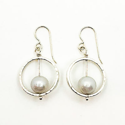 Sterling Not Naught Round Pearl Earrings with Gray Pearls by Judie Raiford