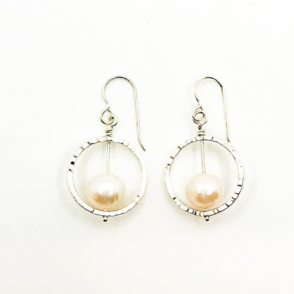 Sterling Not Naught Round Pearl Earrings with White Pearls by Judie Raiford